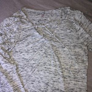 grey, lowcut long sleeve, with drawstrings